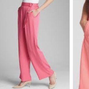 GAP Pink Belted Wide Leg Tencel Pants